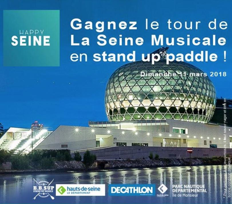 Jeu-Concours : Gagnez le tour de La Seine Musicale en stand paddle de B.B.SUP (92)