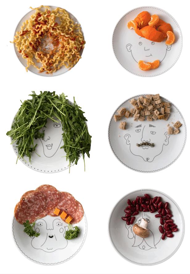 6 assiette décoiffées : service de Famille, à table !