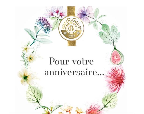 La Boutique Roger&Gallet vous souhaite un bon anniversaire avec cadeau à la clé !
