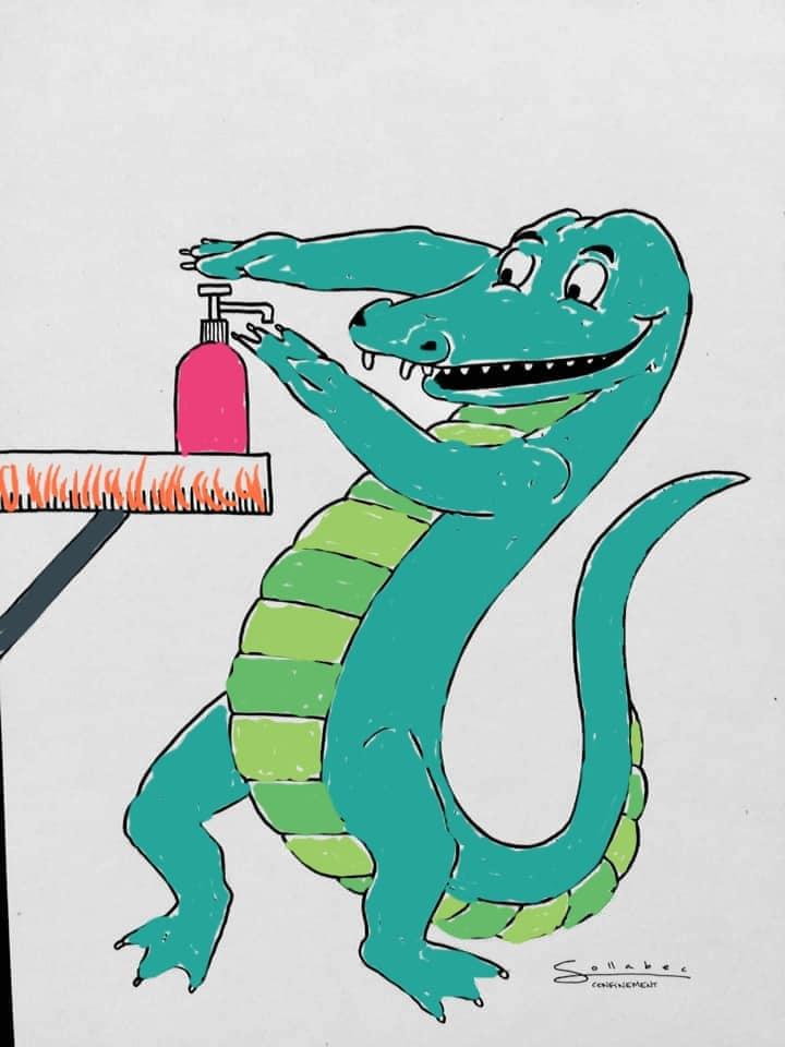 Coloriage Conoravirus avec les dessins de Mauro Ceballos