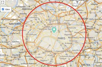 Comment calculer un rayon de 10 km autour de chez vous ?