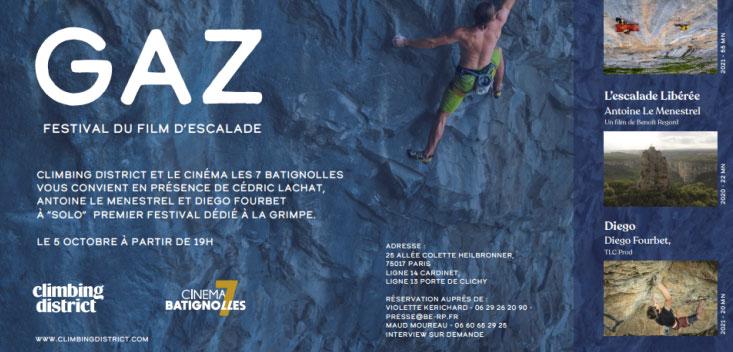 Mardi 5 octobre «  Gaz » 1er Festival d'escalade au cinéma 7 Batignolles (75)